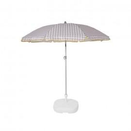 EZPELETA Parasol de plage Beach  Ř 180 cm  Vichy gris Socle non inclus