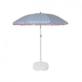 EZPELETA Parasol de plage Beach  Ř 180 cm  Vichy bleu Socle non inclus