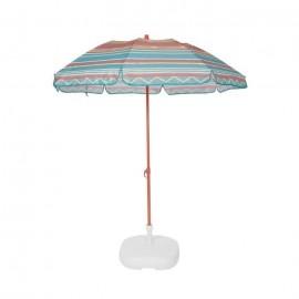 EZPELETA Parasol de plage Fold  Ř 180 cm  Rayé vert Socle non inclus
