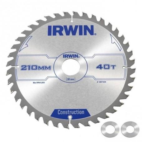 IRWIN Lames de scie circulaire construction 210 x 30 x 2,5 mm 40 dents