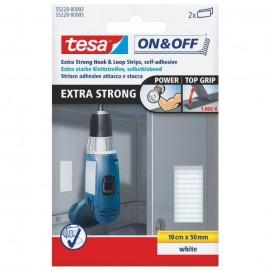 TESA Bandelettes extra fortes 0,1 m x 50 mm  Blanc  2 pieces