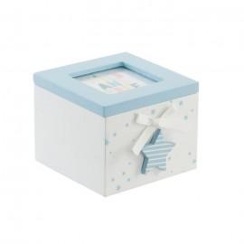 Boîte a bijoux enfant en bois et verre  10x11x8 cm  Bleu