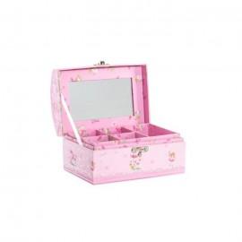Boîte a bijoux enfant Fée en carton  16x11,5x9,5 cm  Rose