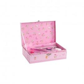 Lot de 8 boîtes a bijoux enfant Fée en carton  23x15x7,5 cm  Rose