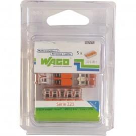 WAGO Pack de 5 Bornes de connexion universelle tous conducteurs  Type 221/ 5 entrées