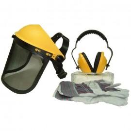 JARDIN PRATIQUE Kit de protection OZAKI  Ecran grillagé relevable  lunettes de sécurité  casque antibruit ajustable et gants