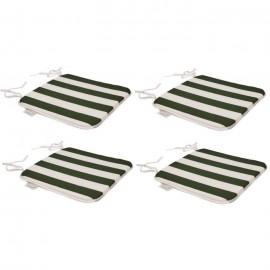 EZPELETA Set de 4 Coussins de chaises carrées Sol  40 x 40 cm  Vert et blanc