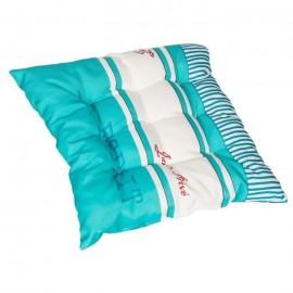 JARDIN PRIVE Assise de chaise ou fauteuil futon carrée Fouta  9 capitons  40x40x5 cm  Bleu