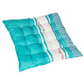 JARDIN PRIVE Assise de chaise ou fauteuil futon carrée Fouta  16 capitons  46x46x6 cm  Bleu