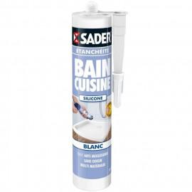 SADER Cartouche Mastic Silicone Etanchéité Bain et Cuisine Facile a lisser  Blanc  310ml